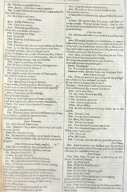 1632 Shakespeare Leaf #5 - Tymon of Athens - Wealth maketh many friends...