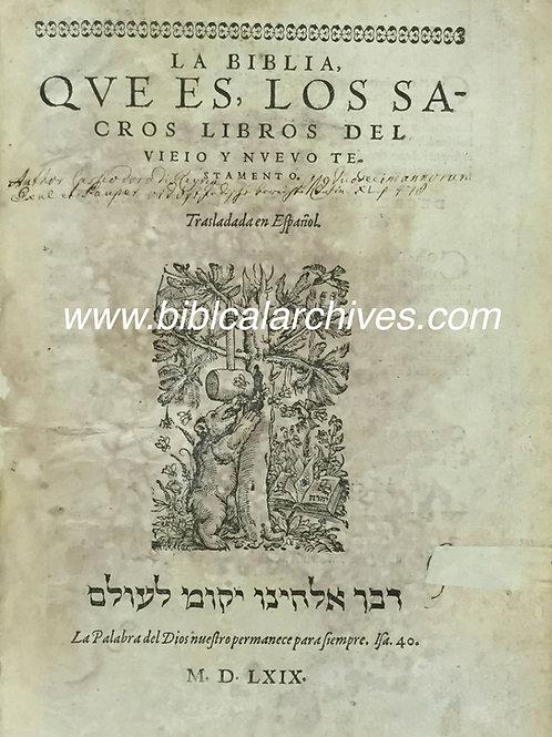 SPANISH LA BIBLIA del OSO 1569 FIRST EDITION DISPLAY LEAF