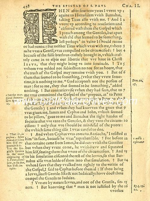 CATHOLIC RHEIMS NEW TESTAMENT 1582 FIRST EDITION DISPLAY LEAF