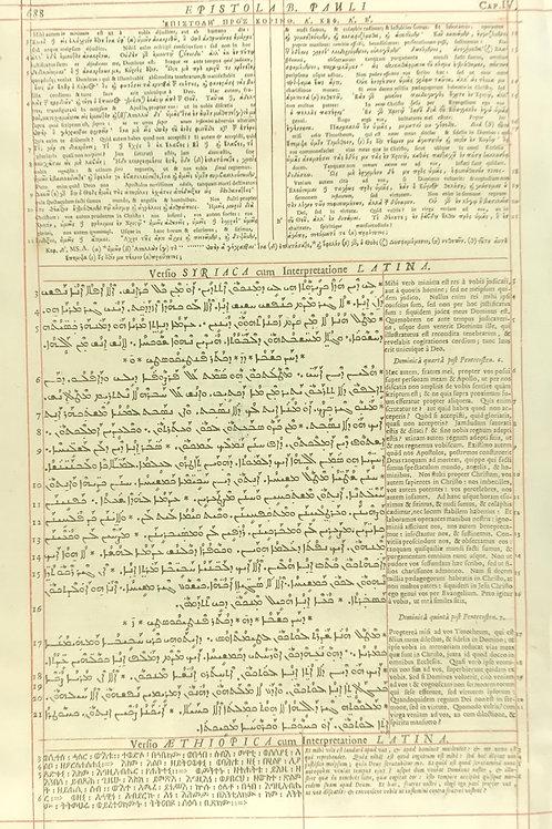 1657 London Polyglot Bible Leaf - 1 Corinthians 4 - Pages 687-688