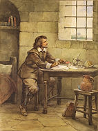 John Bunyan writing Pilrim's Progress in prison.