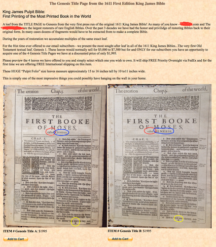 biblicalarchives | King James' Bible Leaves