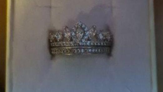 Anello 2 in 1 con corona in argento con cristalli