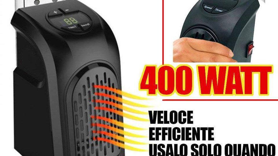 Stufa elettrica da presa 400w portatile handy heater regolabile