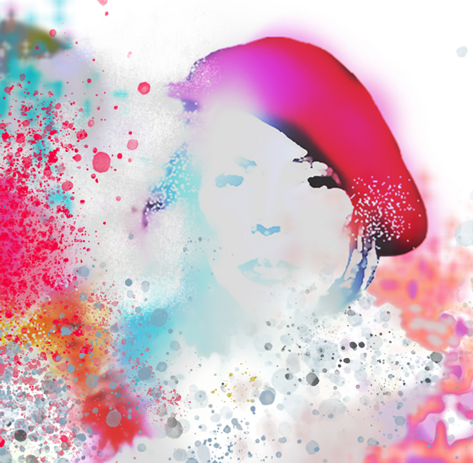 Semi abstract graphic background image of Joni Mitchell