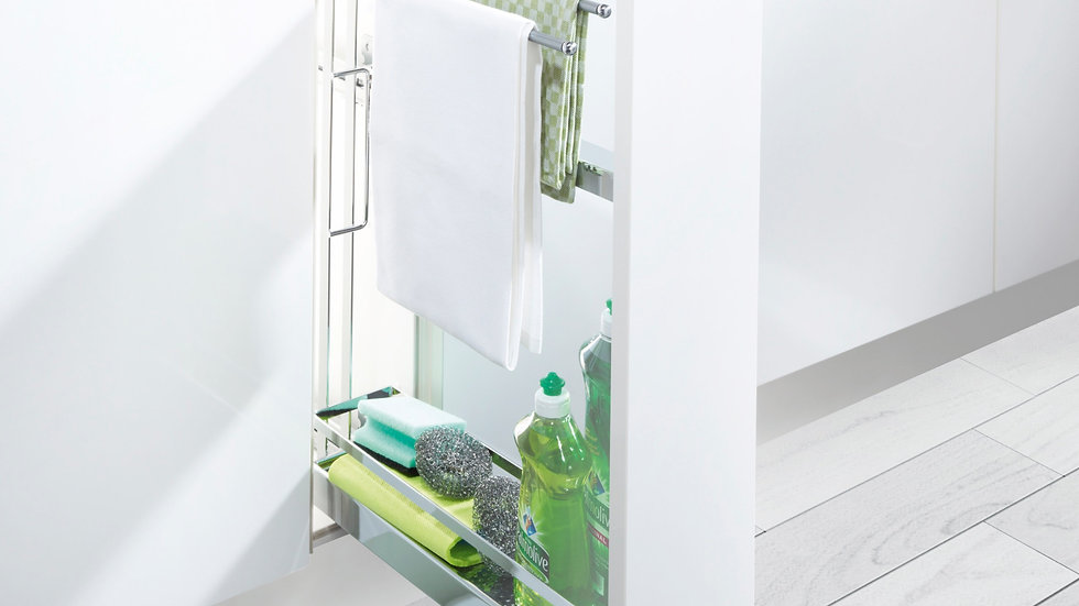 150 BASE WITH CHROME PULL OUT BASKET & TOWEL RAIL