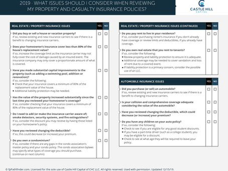 Issues to Consider When Reviewing Property and Casualty Insurance