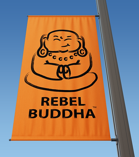 Rectangle Lamp Post Banner rebel buddha
