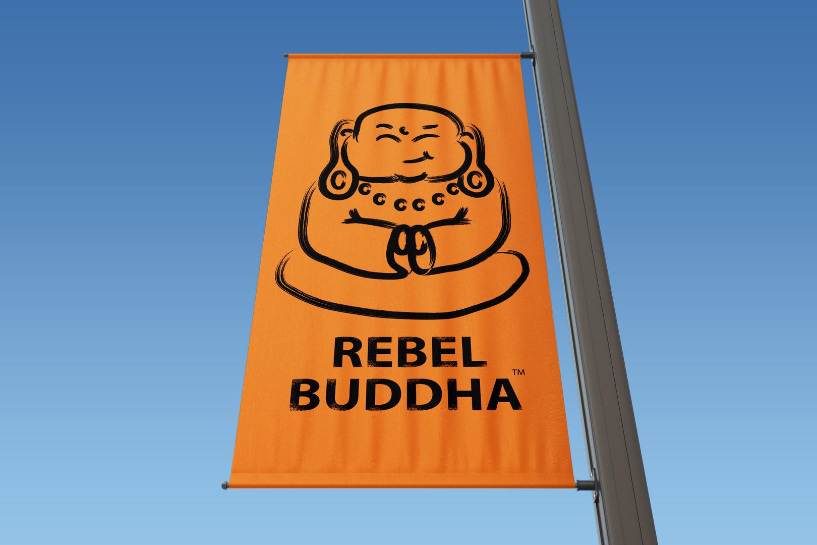 Rectangle Lamp Post Banner rebel buddha