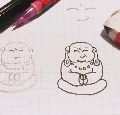 Logo Design Aberdeen Space Panda buddha sketch
