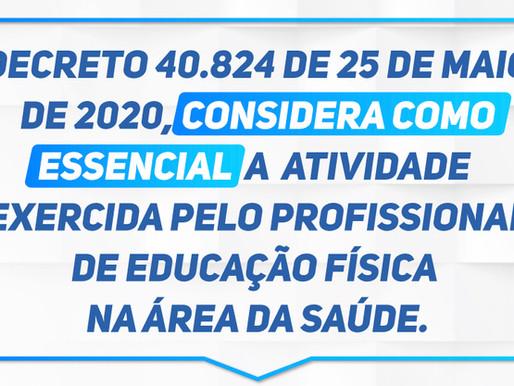 Decreto considera essencial atividade exercida pelo Profissional de Educação Física na área da saúde