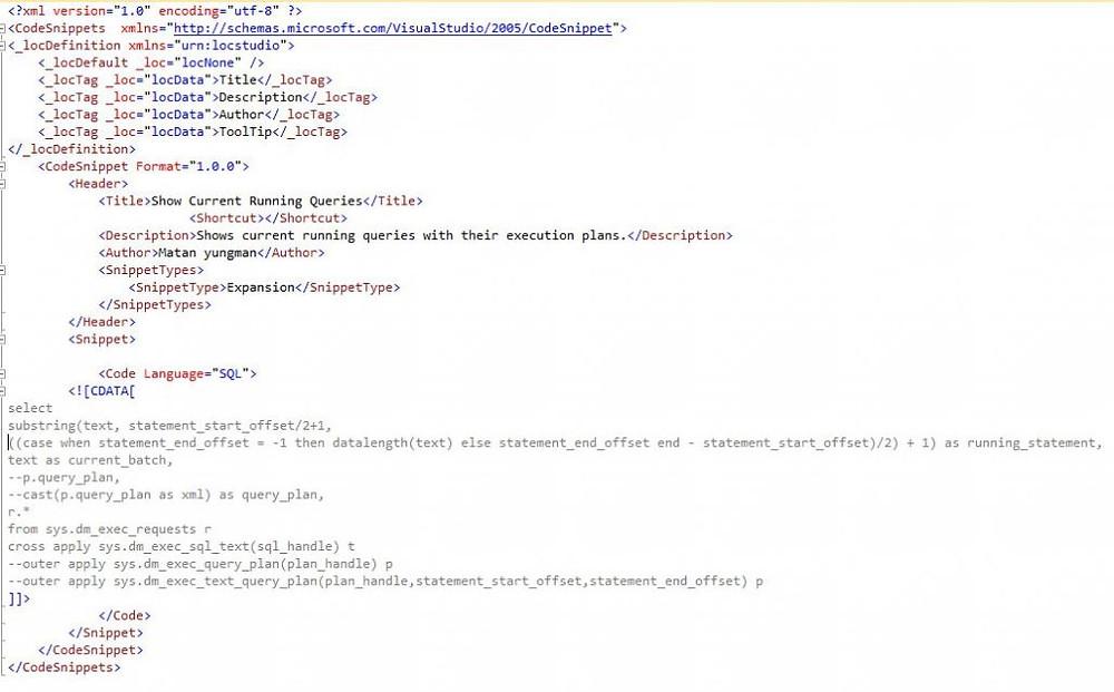 SQL Server Expansion Snippet
