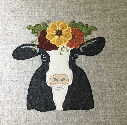 Tweed MOO cow with flowers