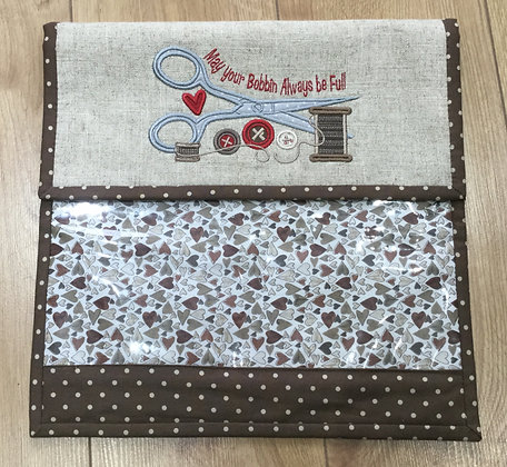 project bag + 2 sewing themed embroidery designs