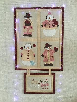 Cute applique snowmen Machine Embroidery designs