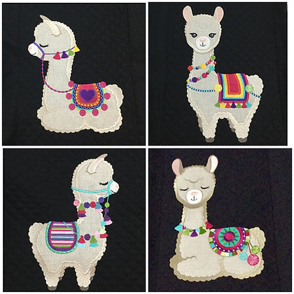 Llamas 2 sizes set of 4