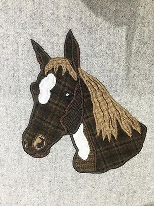 Tweed horses head applique