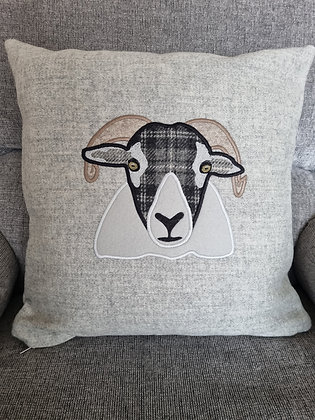 Horned sheep applique using tweeds and wool
