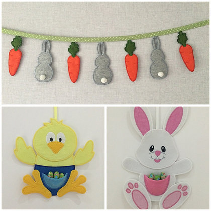 3 design bundle Chick, bunny and bunting