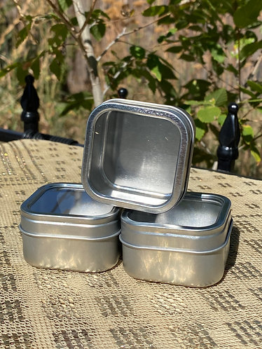 2oz Square Metal Tin with Plastic Window