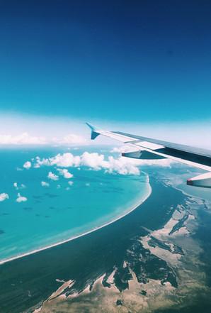 plane view, ocean, travel