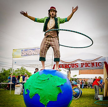 Earth Day Walking Globe Performer with Hula Hoop in Austin Texas