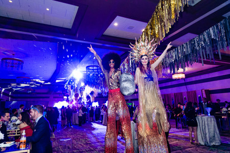 Towering Party Stilt Walkers, CIRCUS PICNIC Entertainment, Entertainers, Disco Themed Corporate Party Texas, Austin, Houston, San Antonio, Dallas, Fun and Unforgettable Party Experience, Event Idea