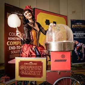 Circus Sweet Treats, VINTAGE COTTON CANDY CART, Traditional Candy at Circus Styled Entertainment, Corporate Event Ideas
