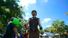 Steampunk Circus Juggler, CIRCUS PICNIC Steampunk Performer, Entertainers Crash Landed at Art Outside and Austin City Limits