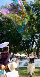 Magical Rainbow Bubbles, Event Party Entertainment Steampunk Circus Crash Lands at ACL and ART Outside