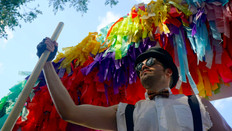 Party Entrance Man, CIRCUS PICNIC Steampunk Circus Theme Party, Experience the Joy of a Rainbow Parachute at Art Outside Festival