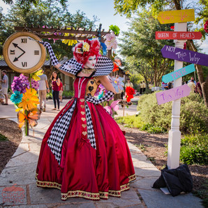 Queen of Time and Direction, Down the Rabbit Hole Queen, Wonderland Character, Entertainer at CIRCUS Picnic Alice in Wonderful Theme Corporate Event