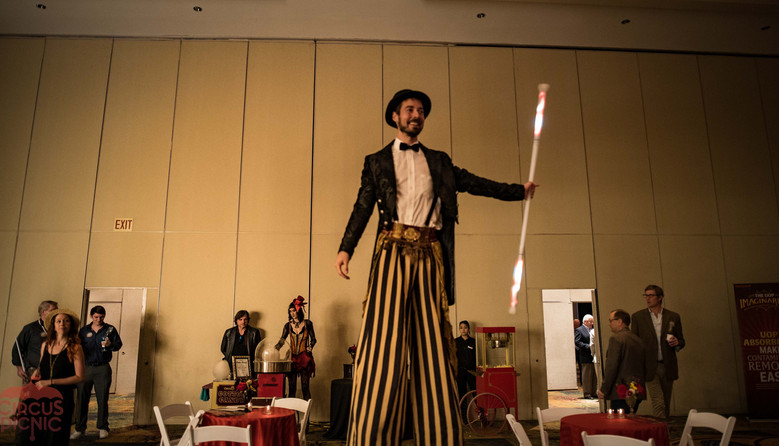 Gigantic Stilt Walker, Experiencing Fun and Awe at CIRCUS PICNIC Classic Carnival Corporate Show, Corporate Event, Texas