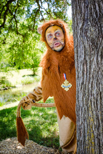 The lion from the Wizard of Oz is looking at the camera frightened, behind a tree.