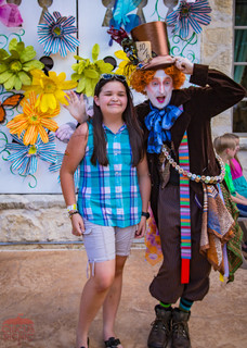 At the Circus With Mad Hatter, Guest, Party Goers, Attendees at Wonderland Themed Company Party Texas, Event Entertainment Idea