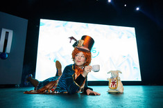 Mad Hatter at Tea Party, CIRCUS PICNIC Alice In Quantumland Theme, Corporate Event, Company Tea Party, Mad Hatter Drinking Tea at Big Bash Corporate Event  Texas