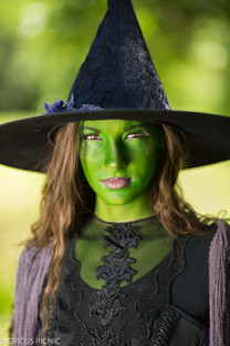 The Wicked Witch of the West is glaring at the camera at the Wizard of Oz themed party.