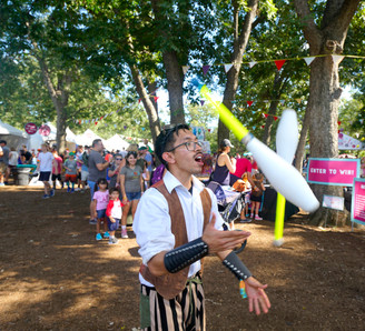 Entertaining Circus Performers, Jugglers, Entertained Party Goers, CIRCUS PICNIC Themed Party Ideas, Steampunk Aeronautic Styled Event at Austin City Limits