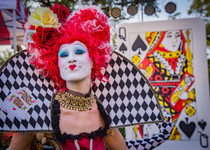 The Eye Catching Queen, Wonderland Queen of Hearts, Wonderful Character, Entertainer, Performers at CIRCUS PICNIC Circus Style Event Entertainment, Texas