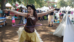 Round and Round the Hula hoop, Engaged Circus Activity, Entertainment Event, CIRCUS PICNIC Steampunk Aeronauts Themed Party, Circus Crash at ACL and ART Outside