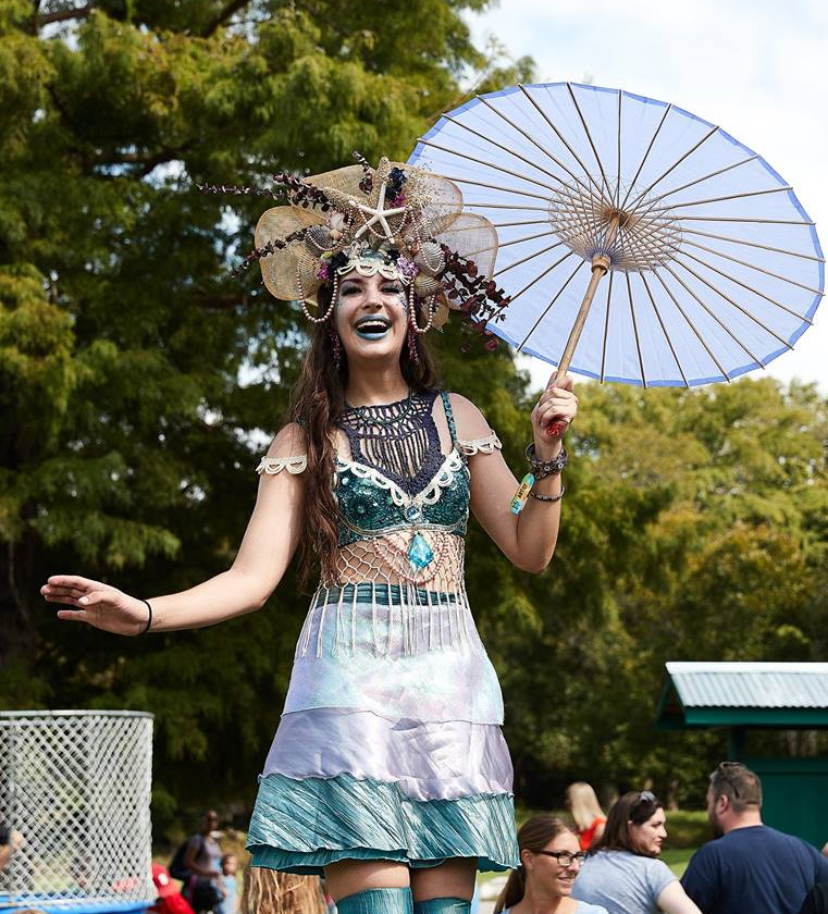Whimsical  Giant Sea Creature, Stilt Walker, Entertainer, Performer, CIRCUS PICNIC Mermaid Themed Corporate Entertainment Event, Company Party at Texas