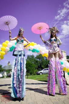 The Princesses of the Sea, Stilt Walkers Entertainer, Lively Entertainment at Mermaid Themed Company Party in Texas