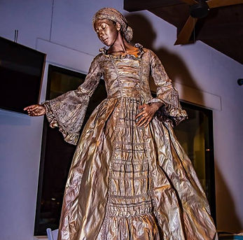 Gold Victorian Dress Living Statue