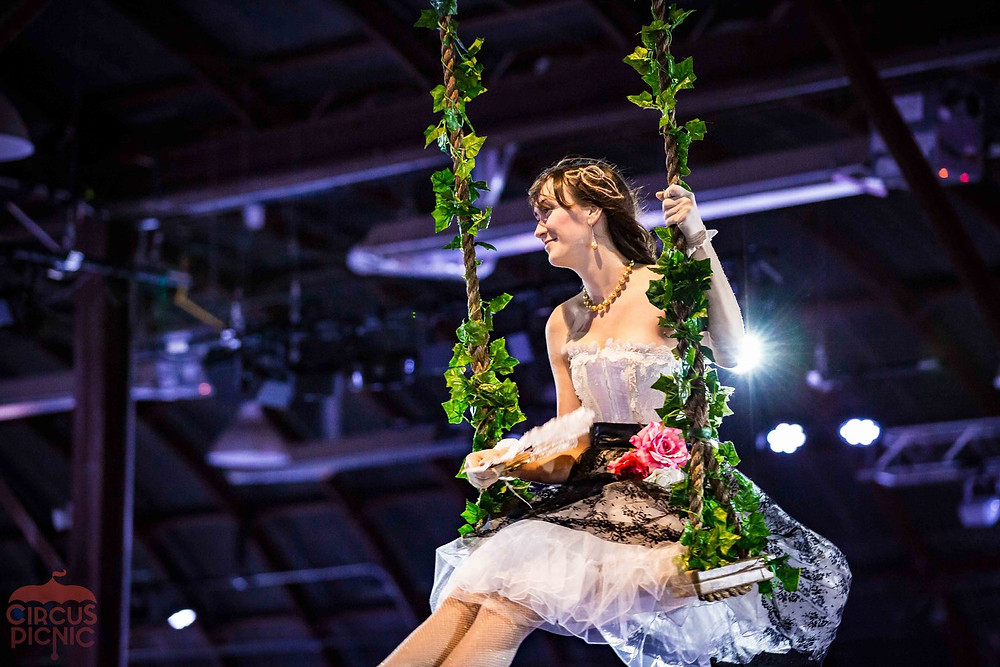 Swinging French Mademoiselle, Aerialist at Austin International Art Show, CIRCUS PICNIC Talents