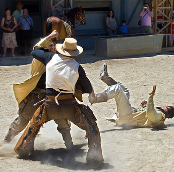 Western themed staged stunt