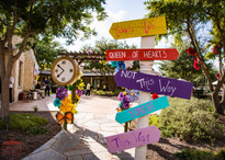 This Way Down the Rabbit Hole, Party Entrance, Corporate Party Venue, Entertainment Style Event, Circus Picnic Wonderland Theme Party Idea. Texas