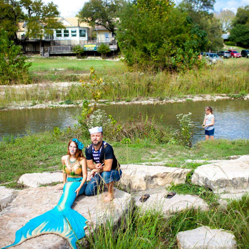 Riverside Moment of Truth, CIRCUS PICNIC Magical Mermaid Themed Event Idea, Austin Texas Corporate Mermaid Style Event Entertainment