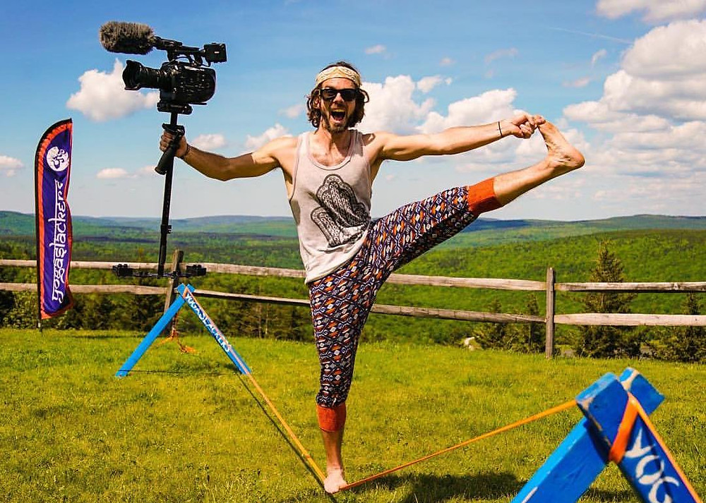 Slack-lining with video camera, Jefe Greenheart