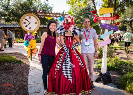 Welcoming Queen of Hearts, Wonderland Entrancing Entrance, Entertainer, Performer at Texas Corporate Event Themed Wonderland, CIRCUS PICNIC Creative Show