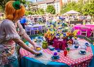 Colorful Tea Party Table, CIRCUS PICNIC Wonderland Theme Party, Magical Corporate Event Entertainment Experience, Austin Texas